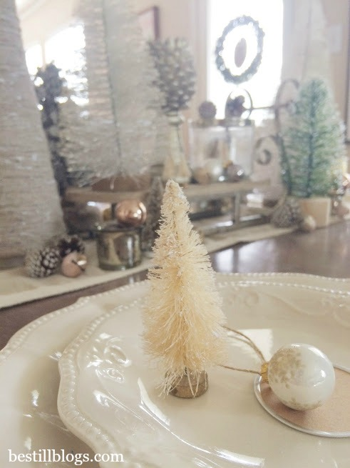 christmas tablescape, Michaels, bottle brush trees, tablescape, christmas decor