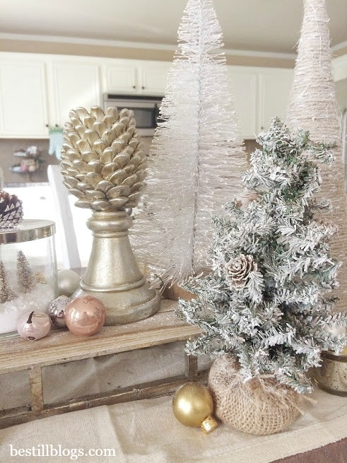 christmas tablescape, christmas decor, tablescape, decor blog, bottle brush trees, michaels, target, bath and body works candle, sled
