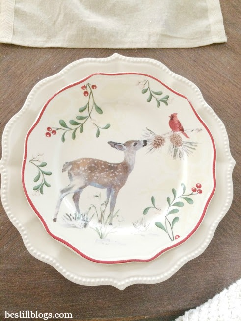 christmas tablescape, walmart, white plates, tablescape, christmas decor